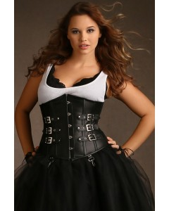 Plus Size Tara Underbust Leather Corset With Buckles