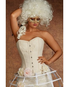 Plus Size Lilith Vintage Lace And Cotton Steel Boned Corset