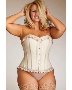 Plus Size Antoinette Cotton Steel Boned Corset With Satin Ruffles