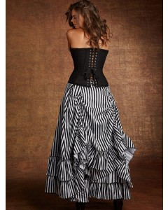 Plus Size Striped Victorian Bustle Skirt