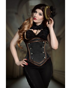 Black Duchess Satin Lilah Steel Boned Corset With Detachable Removable Panel