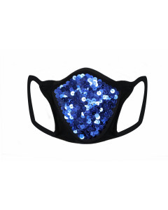 Blue Sequin & Lycra Face Mask With Filter