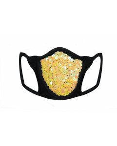 Yellow Sequin & Lycra Face Mask With Filter