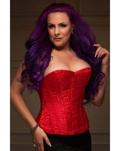 Playgirl Red Steel Boned Floral Jacquard Corset
