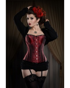 Playgirl Steel Boned Red Shadow Stripe Corset