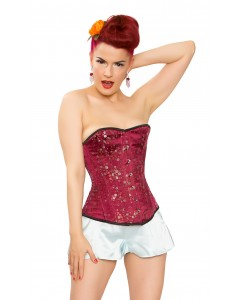 Wine Floral Brocade Steel Boned Corset