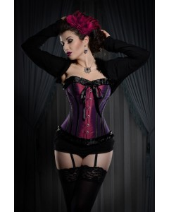 Plum & Black Steel Boned Corset With Ribbon