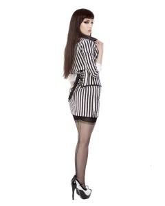 Black & White Stripe Short Pencil Skirt