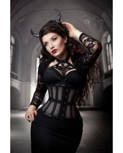 Playgirl Eve Black Steel Boned Net Mesh Cincher Corset