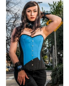 Long Overbust Black & Blue Steel Boned Corset