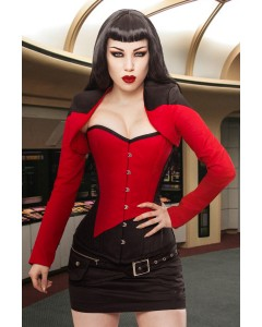 Black/Red Captain 1st Officer Steel Boned Corset & Shrug