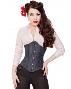 Long Denim Waist Training Steel Boned Corset Cincher