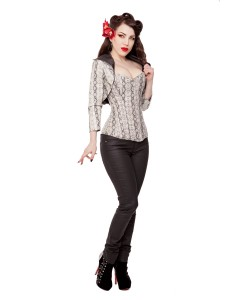 Faux Snake Skin Fitted Bolero Shrug Top