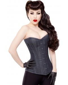 Long Overbust Denim Steel Boned Corset
