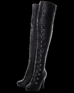 Over The Knee Black Matt Button Detail Boots