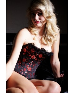 Burlesque Fashion Corset In Black & Red Floral Print