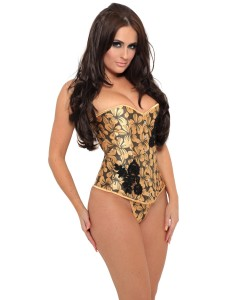 Bronze Floral Fashion Corset With Black Lace Appliqué