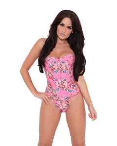 Pink Floral Overbust Fashion Corset