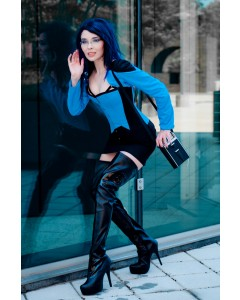 Black/Blue Steel Boned Corset & Bolero Outfit