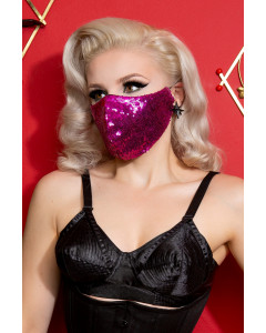 Fuchsia Sequin Fitted Face Mask With Filter Pocket
